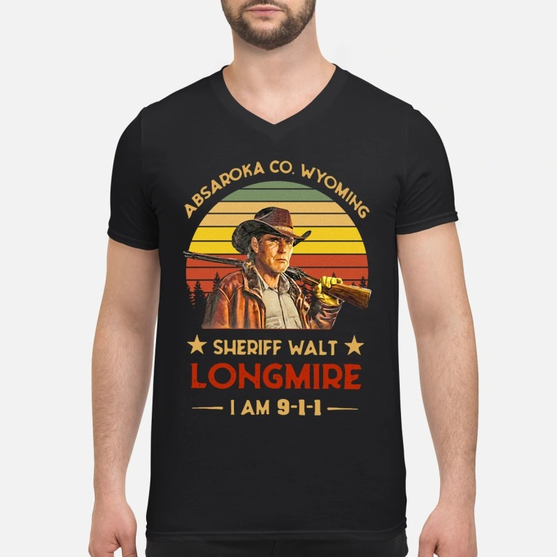 Absaroka Co. Wyoming Sheriff Walt Longmire I am 911 v-neck T-shirt