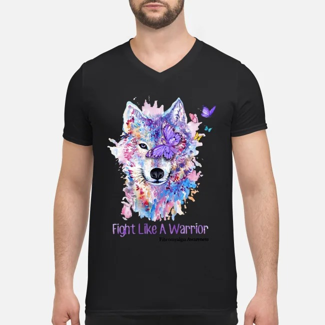 Wolves and Butterflys fight like a Warrior V-neck T-shirt
