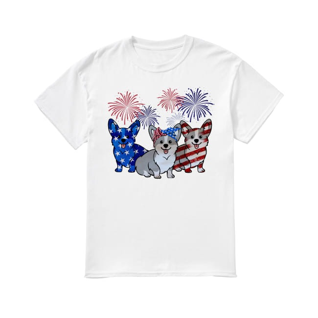 Corgis Dog Colors Flag America shirt