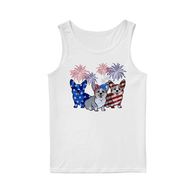 Corgis Dog Colors Flag America Tank Top