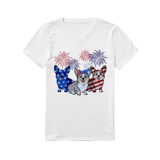 Corgis Dog Colors Flag America V-neck T-shirt
