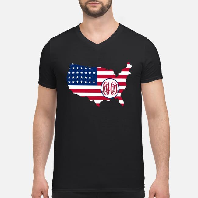 Flag America logo MHM V-neck T-shirt