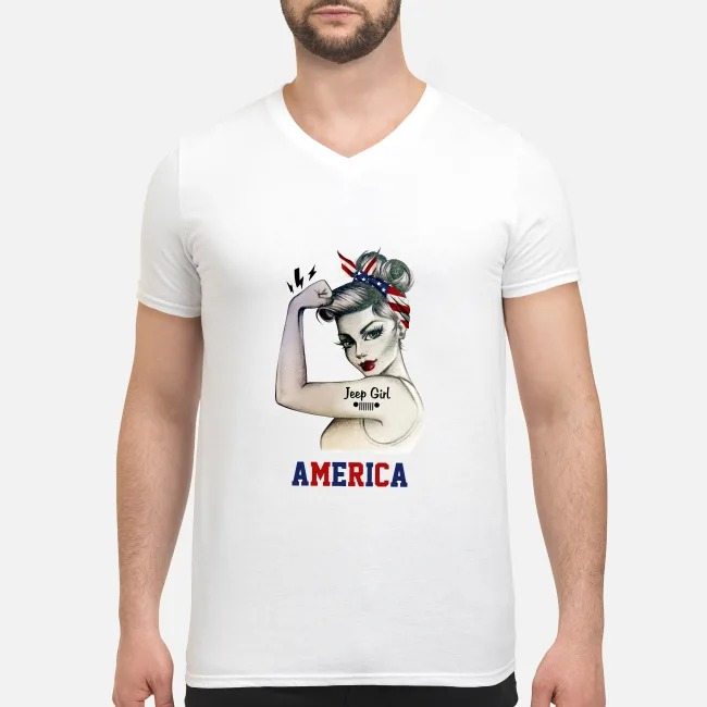 Jeep Girl America V-neck T-shirt