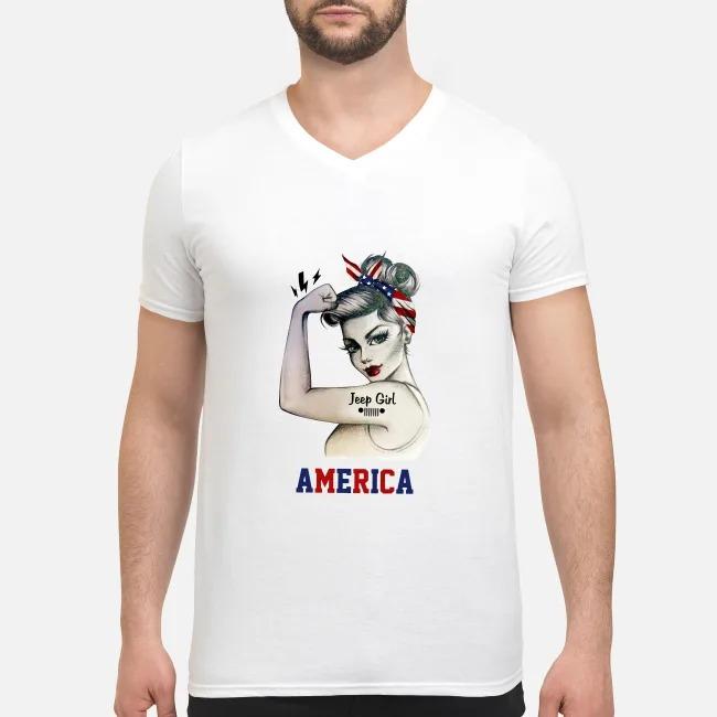 Jeep Girl America V-neck T-shirt