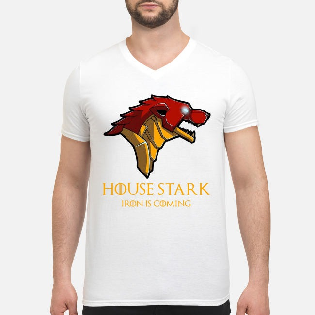 Marvel Avengers Game Of Thrones Iron Man House Stark Iron is coming V-neck T-shirt