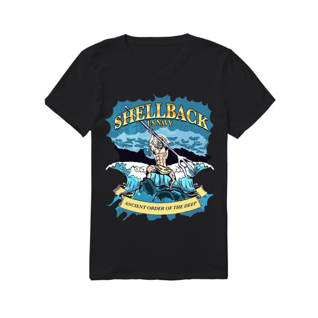 Shellback United States Navy ancient order of the deep V-neck T-shirt