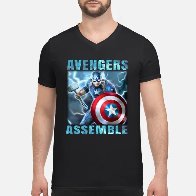 Super Heros Captain America Steve Rogers Marvel Avengers Assemble V-neck T-shirt