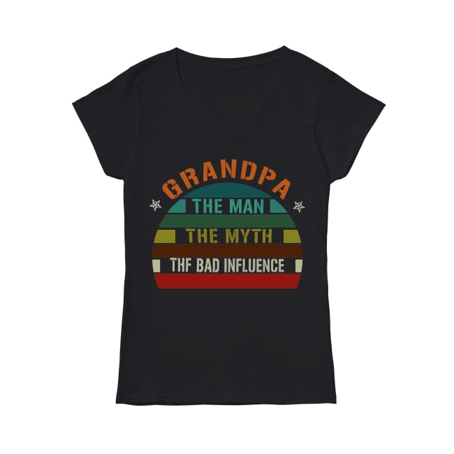 Vintage Father's Day Grandpa the man the myth the bad influence V-neck T-shirt