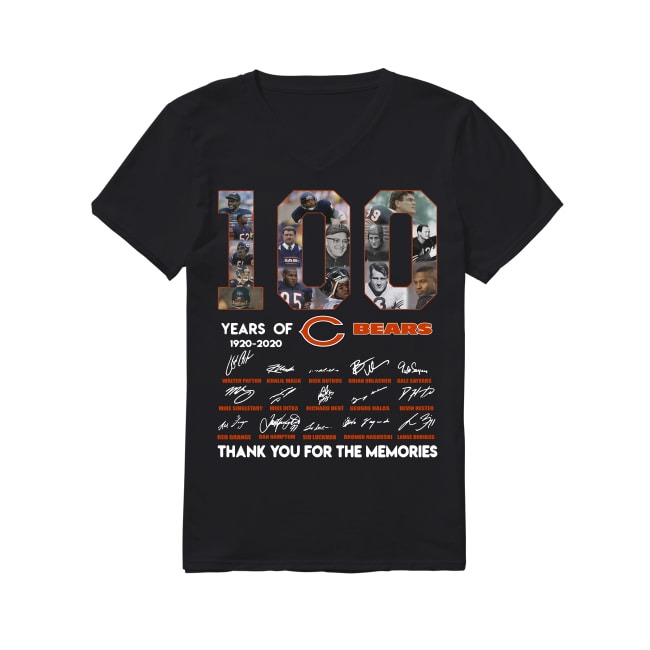 100th Years Of Chicago Bears 1920-2020 V-neck T-shirt