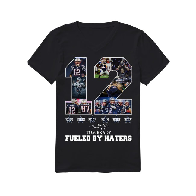 12th Years Of Tom Brady Fueled by Haters American football V-neck T-shirt