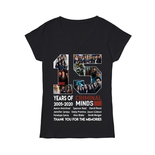 15th Years of Criminal Minds 2005-2020 thank you for the memories V-neck T-shirt