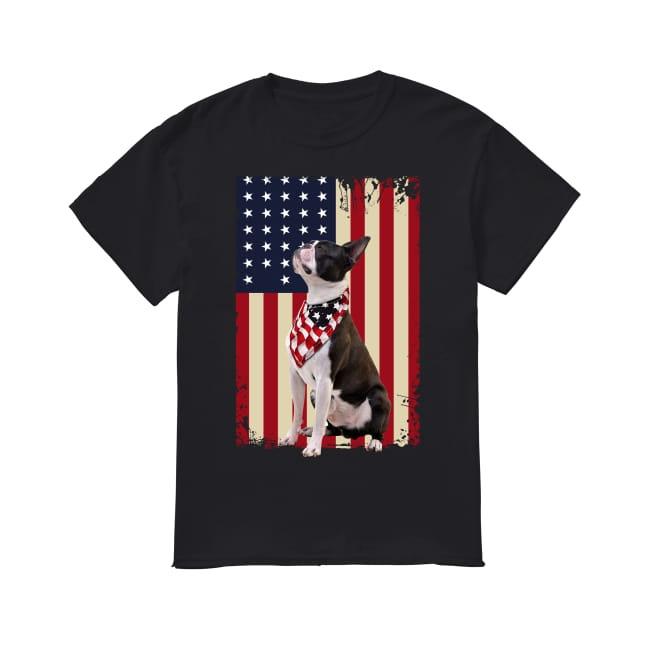 Boston Terrier smile American flag shirt