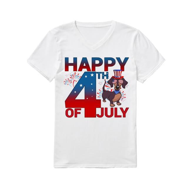 Dachshunds Dog happy 4th of July V-neck T-shirt