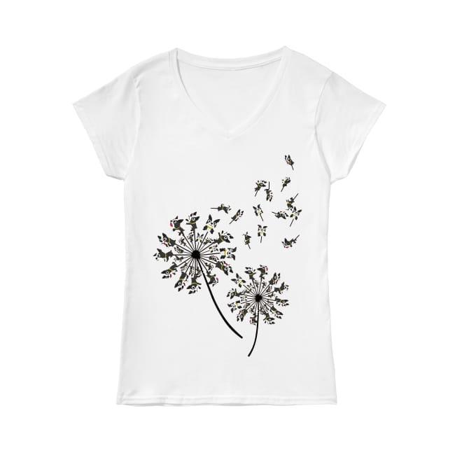 Dandelion and Boston Terrier Dog V-neck T-shirt