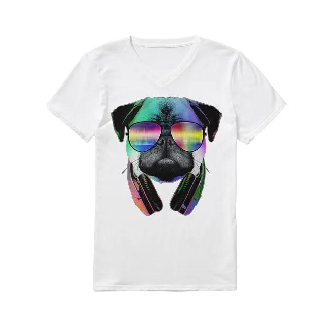 Dog Disc Jockey V-neck T-shirt