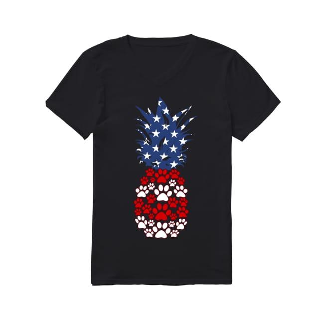 Dog Pineapple flag America V-neck T-shirt