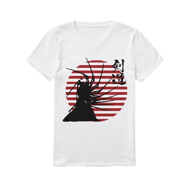 Samurai hero swing the sword V-neck T-shirt