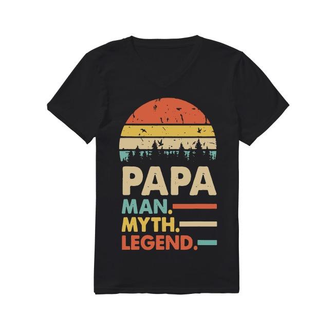 Vintage Papa Man Myth and Legend V-neck T-shirt