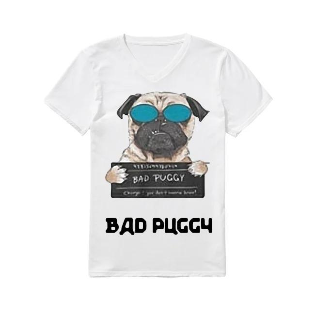 Dog Bad Puggy V-neck -T-shirt