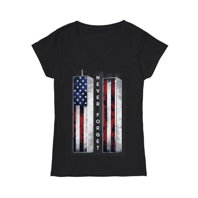 Veteran America Flag Never Forget V-neck T-shirt
