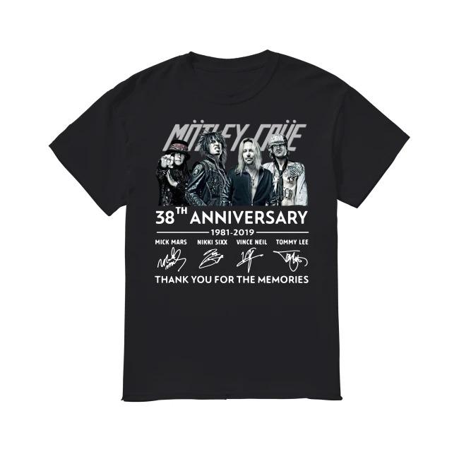 38th Anniversary Mötley Crüe 1981-2019 shirt