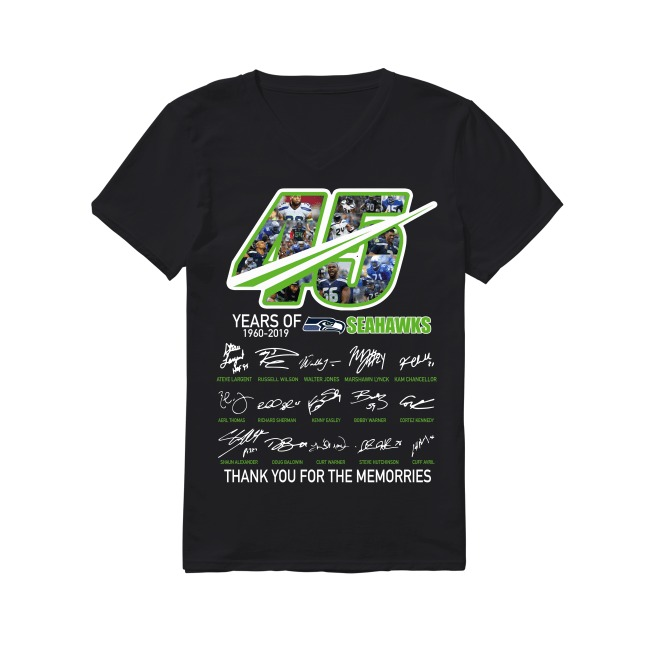 45th Years Of Seattle Seahawks 1960-2019 V-neck T-shirt