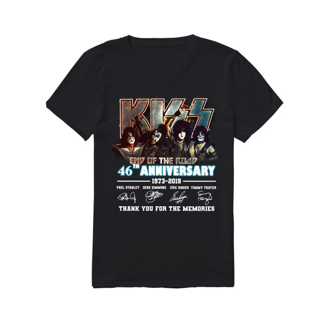 46th Anniversary Kiss Rock End Of The Road 1973-2019 V-neck T-shirt