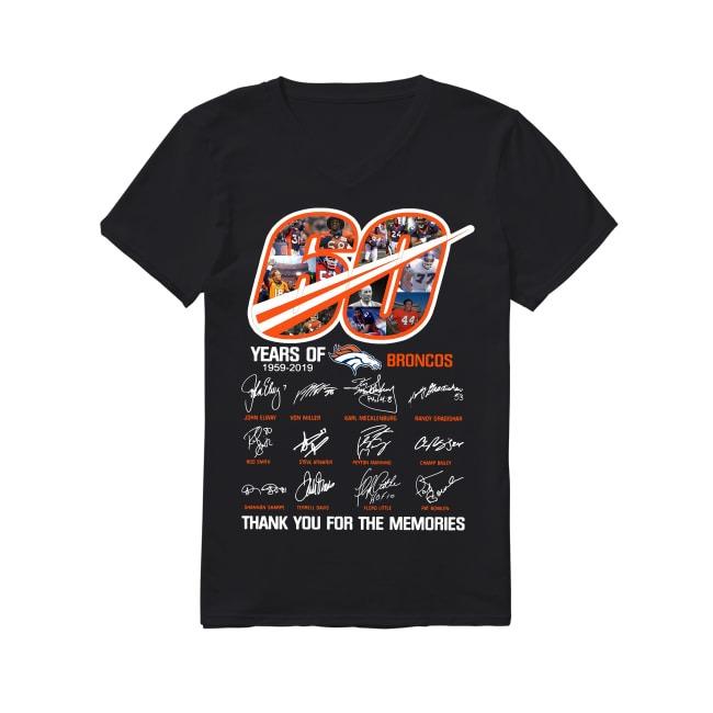 60th Years Of Denver Broncos 1959-2019 V-neck T-shirt