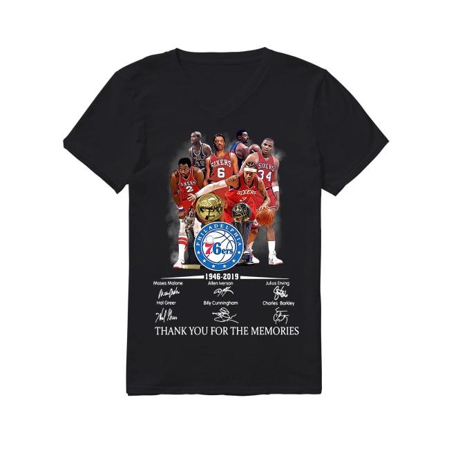 73th Years Of Philadelphia 76ers 1946-2019 V-neck T-shirt