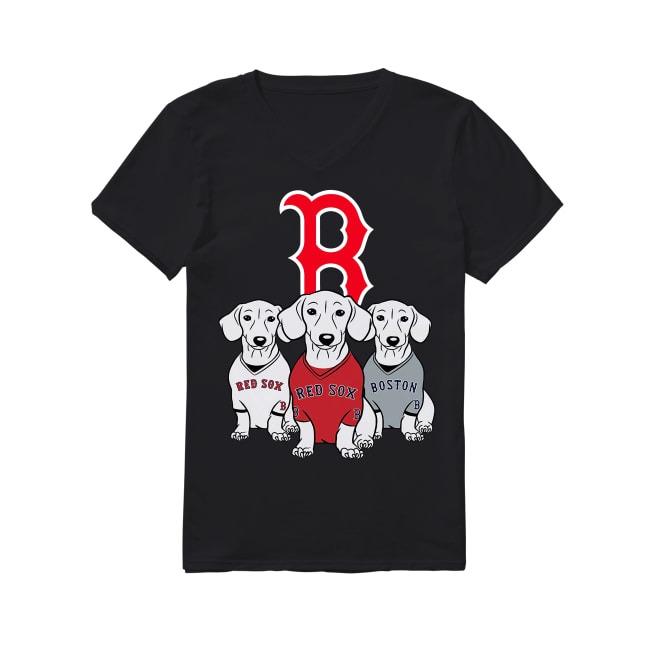 Dachshund Dog and Boston Red Sox Baseball V-neck T-shirt