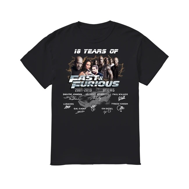Fast and Furious 2001-2019 shirt