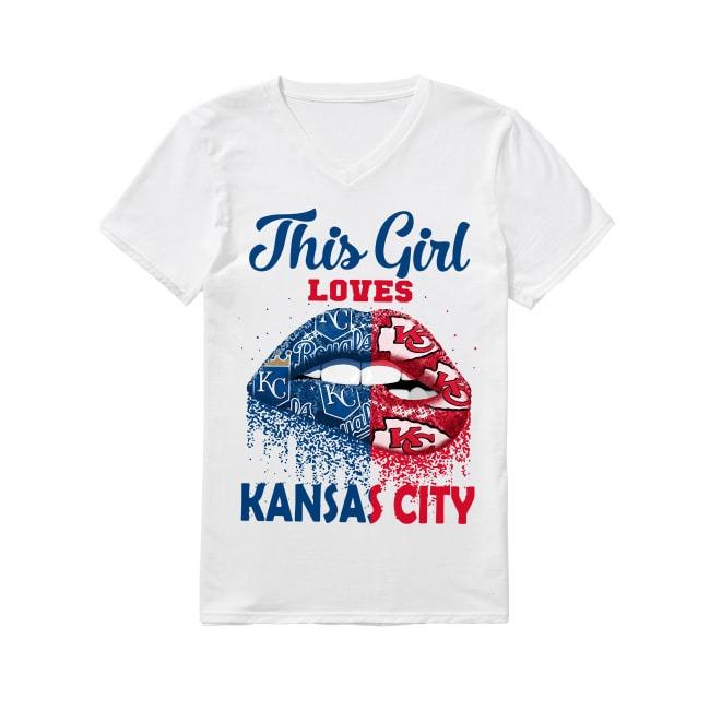 This Girl Loves Kansas City V-neck T-shirt