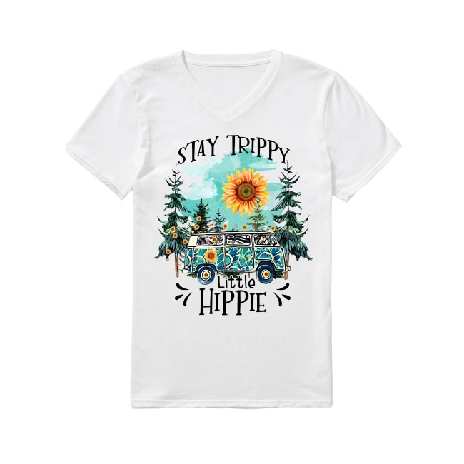 Sunflowers Stay Trippy Little Hippie V-neck T-shirt