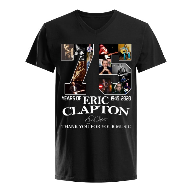 75th Years Of Eric Clapton 1945-2020 V-neck T-shirt
