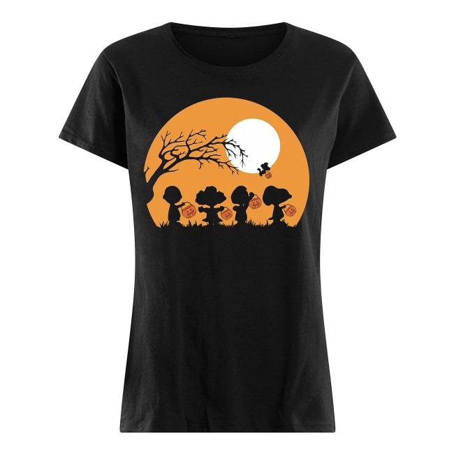 Charlie Brown and Snoopy Happy Halloween Ladies tee