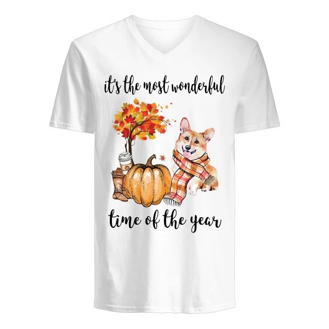 Corgi and Halloween The Most Wonderful Time Of The Year V-neck T-shirt