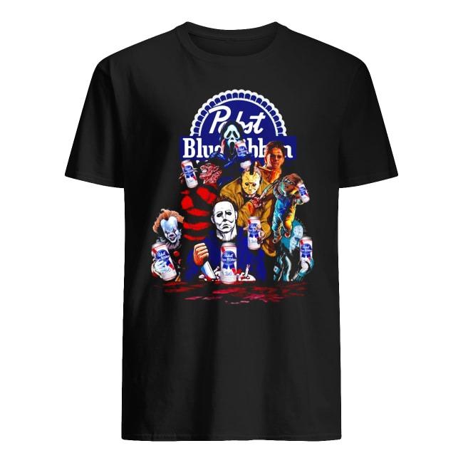 Horror Characters Pabst Blue Ribbon Beer Halloween shirt