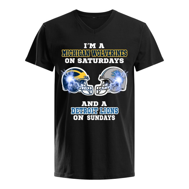 Michigan Wolverines On Saturdays and Detroit Lions On Sundays V-neck T-shirt