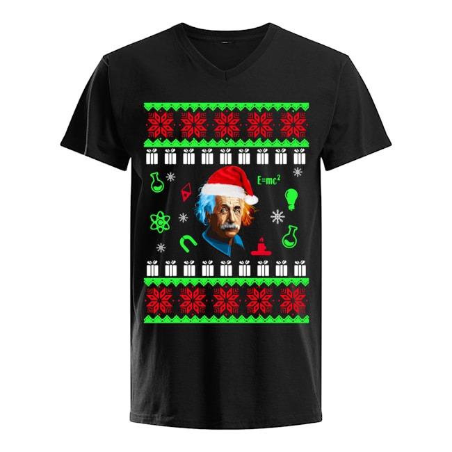 Albert Einstein Merry Christmas 2019 V-neck T-shirt