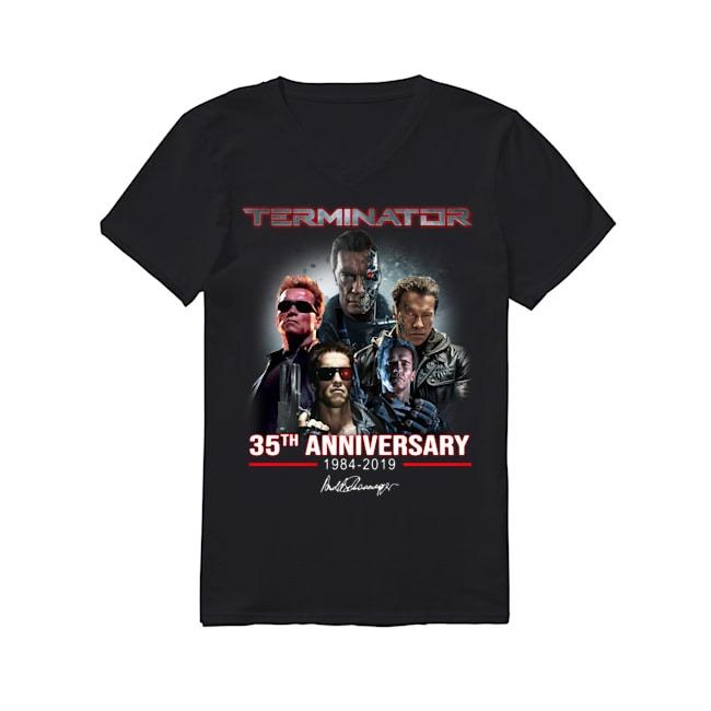 Arnold Schwarzenegger Terminator 35th Anniversary 1984-2019 signature V-neck T-shirt