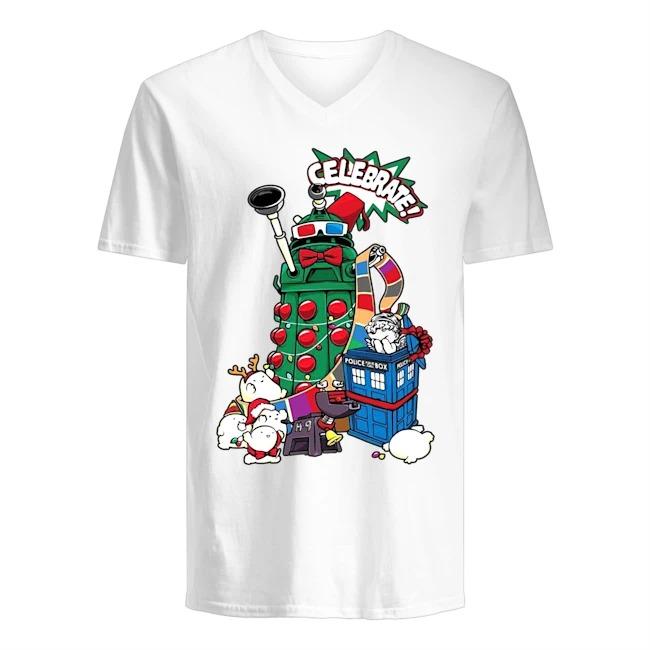 Doctor Who Celebrate Merry Christmas V-neck T-shirt