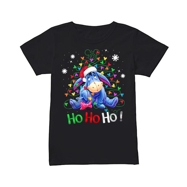 Eeyore Ho Ho Ho Christmas Light V-neck T-shirt