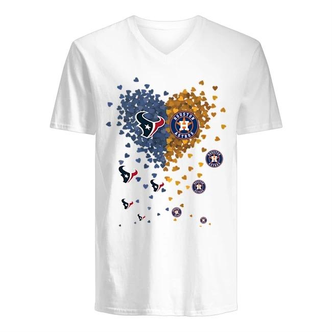 Houston Astros Love New England Patriots heart V-neck t-shirt