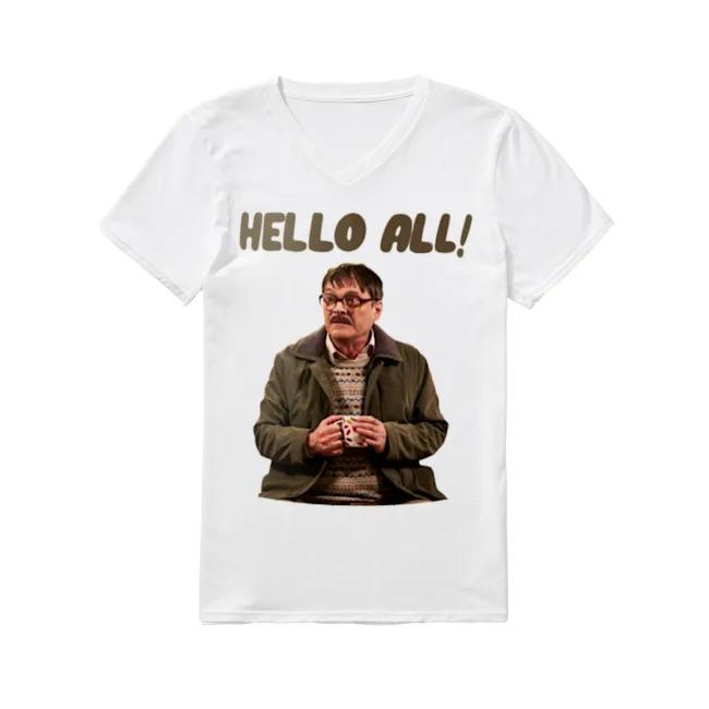 Jim Bell Friday Night Dinner hello all V-neck T-shirt