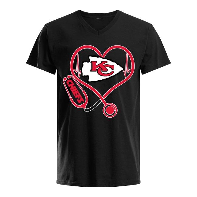 Kansas City Chiefs logo Nurse Heartbeat V-neck T-shirt