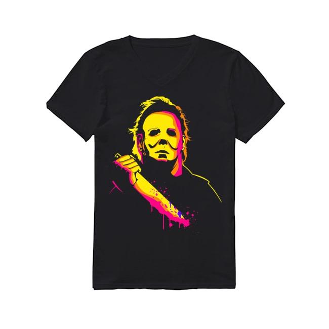 Michael Myers happy halloween V-neck T-shirt