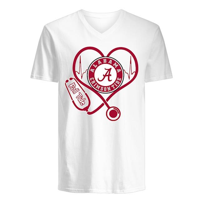 Nurse Heartbeat Alabama Crimson Tide Roll Tide V-neck T-shirt