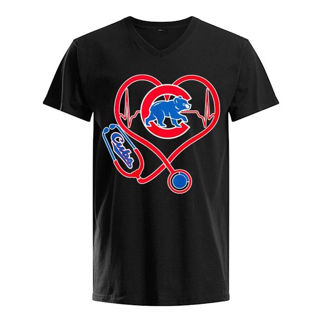 Nurse Heartbeat Chicago Cubs V-neck-t-shirt