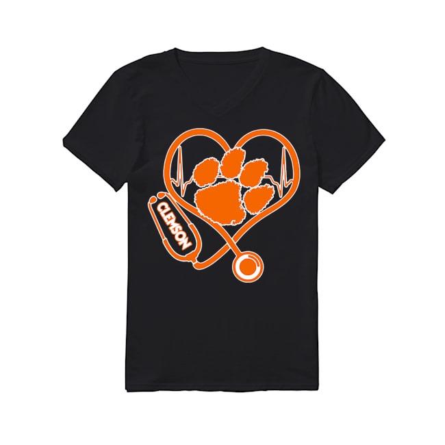 Nurse Heartbeat Clemson Tigers V-neck T-shirt