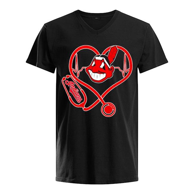 Nurse Heartbeat Cleveland Indians V-neck-t-shirt